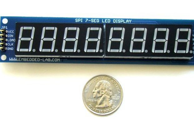 "Serial 8-digit 7-segment LED display (Green,0.56"")"