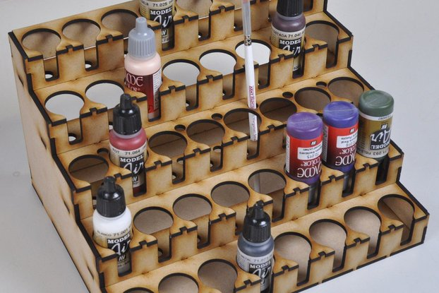 Lasercut paint rack for 40 Vallejo / Warpaint / Game Colour size pots
